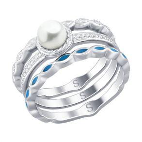 Кольцо из серебра с эмалью и жемчугом 94012525 SOKOLOV