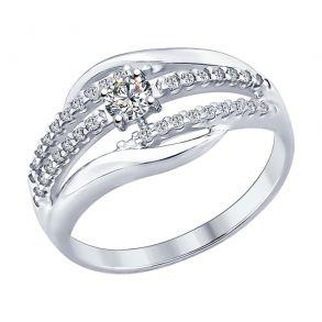 Кольцо из серебра с фианитами 94012298 SOKOLOV