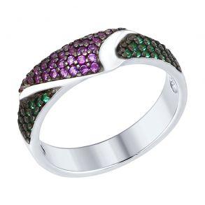 Кольцо из серебра с зелеными и сиреневыми фианитами 94012380 SOKOLOV
