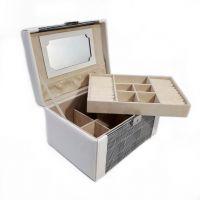 Шкатулка для украшений Сундучок Клетка, 24х16х14 см, Цвет Серый (1)