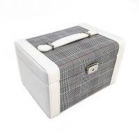 Шкатулка для украшений Сундучок Клетка, 24х16х14 см, Цвет Серый (2)