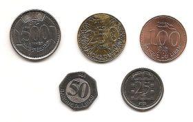 Набор монет Ливан 1996-2012 (5 монет)