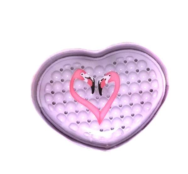 Пластиковая мыльница в форме сердца Фламинго