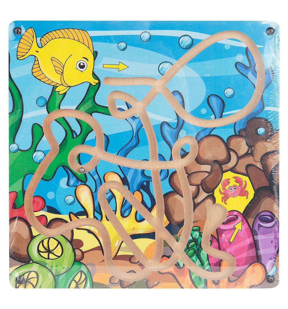 """Развивающая игрушка: лабиринт с шариком """"Рыбка и краб"""""""