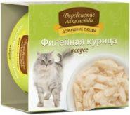 Деревенские лакомства консервы для кошек Филе курица в соусе ж/б 80г