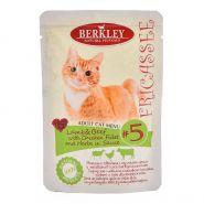 Корм для кошек Berkley №5 фрикасе ягненок и говядина с кусочками курицы и травами в соусе пауч 85г