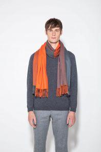 Роскошный экстра большой плотный шарф, высокая плотность, 100 % драгоценный кашемир, расцветка Оранжевый и серый GREY ORANGE, премиум)