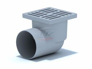 Трап горизонтальный нерегулируемый с выпуском 110мм, c пластиковый решеткой 150*150