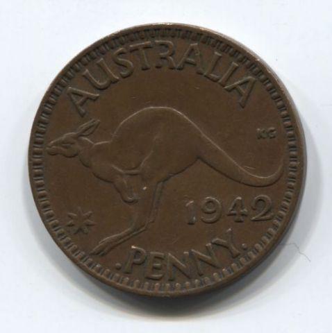 1 пенни 1942 года Австралия XF , I Бомбей