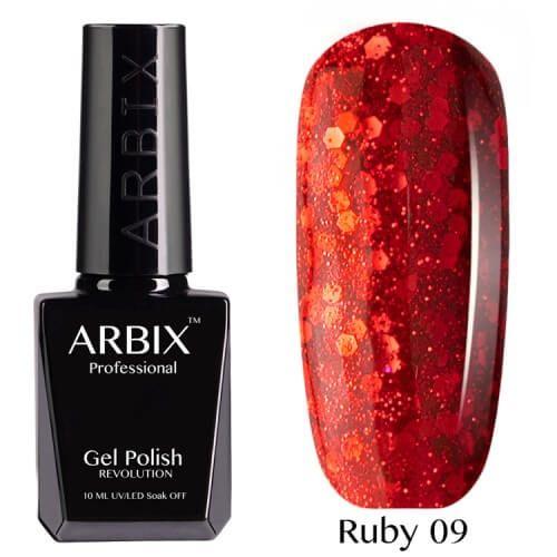 Arbix 009 Ruby Огненный Рассвет Гель-Лак , 10 мл