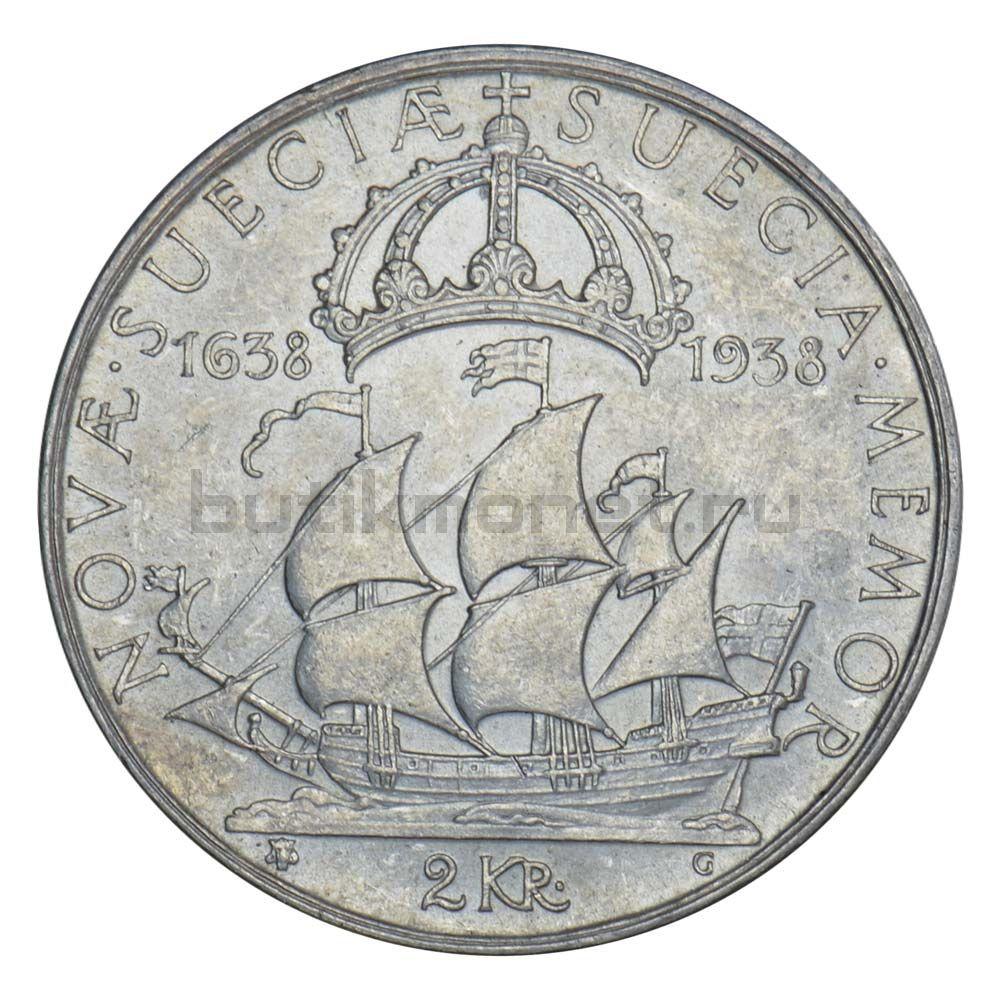 2 кроны 1938 Швеция 300 лет поселению Делавэр