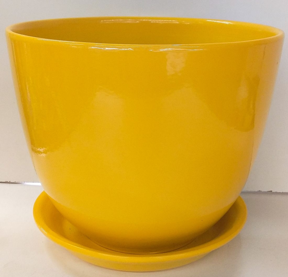 Горшок Милан глянец желтый
