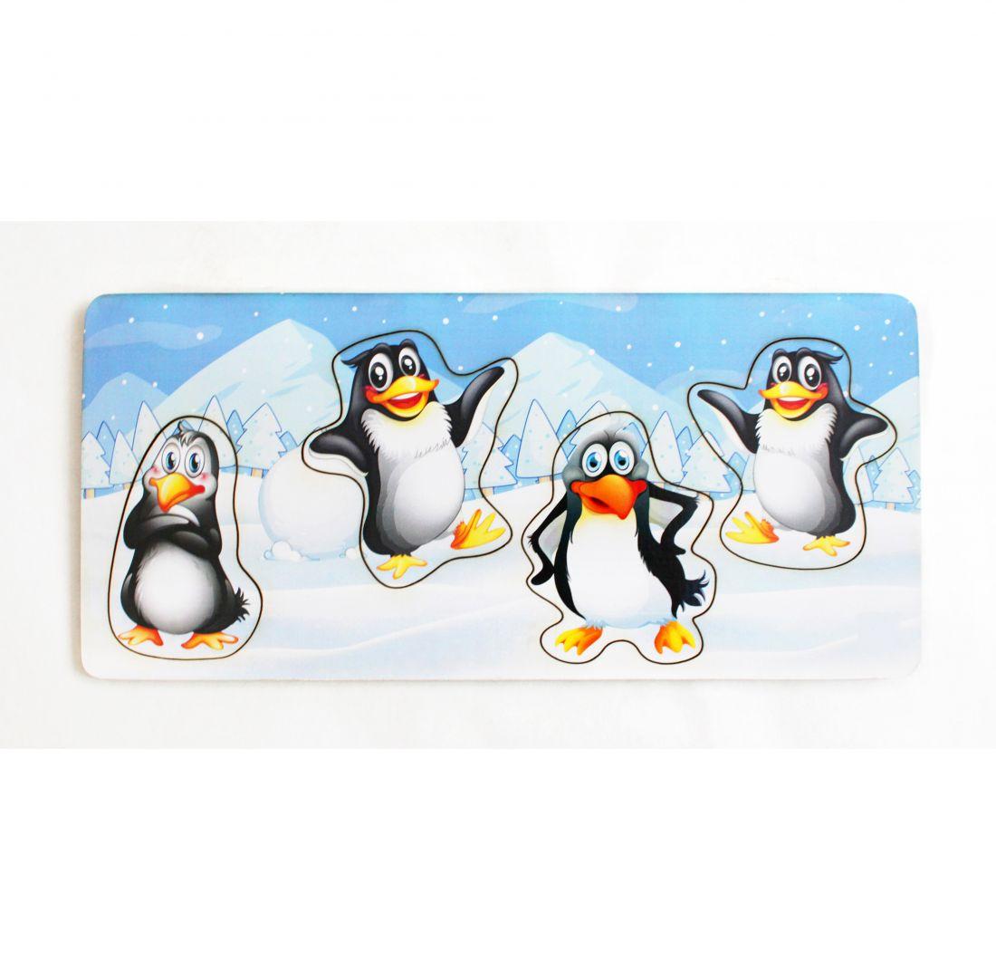 """Развивающая игрушка: Рамка-вкладка """"Пингвины """""""