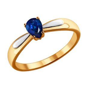 Золотое кольцо с натуральным сапфиром 2011036 SOKOLOV