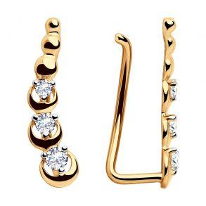 Серьги-зажимы из золота с фианитами 028123 SOKOLOV