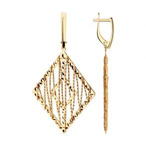 Серьги из золота с алмазной гранью 028706 SOKOLOV
