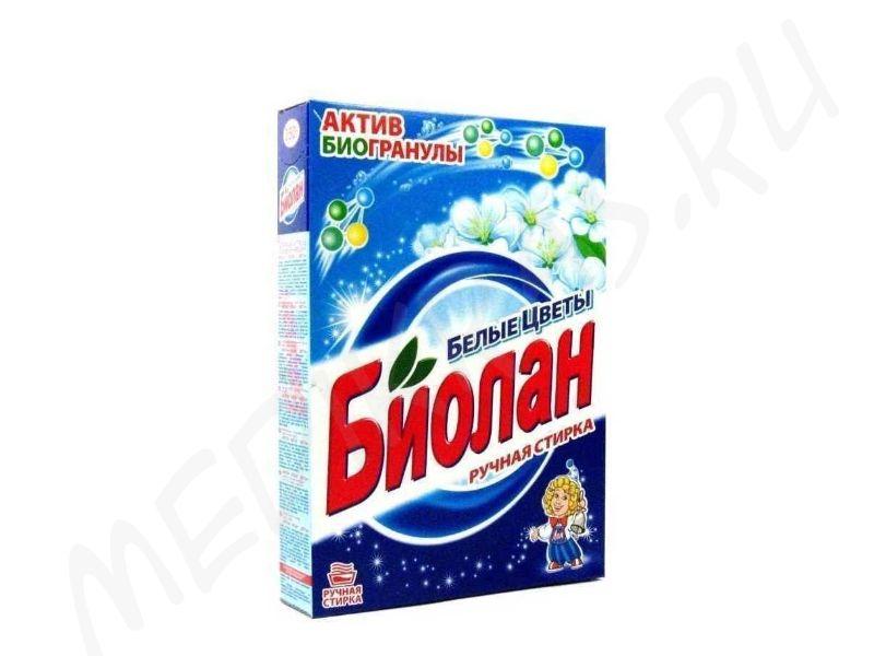 """Стиральный порошок """"Биолан""""  для ручной стирки Белые цветы 350 гр"""