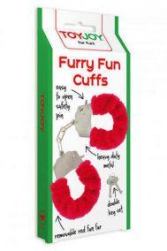 Наручники металлические Toy Joy Furry Fun Cuffs с мехом красные