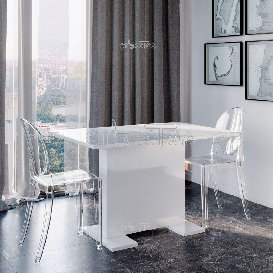 ICE раздвижной кухонный стол в цвете белый глянец Прагматика