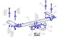 Фаркоп (тсу) Bosal Oris, крюк на болтах, тяга 1.2т