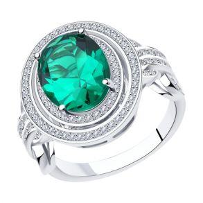 Кольцо из серебра с ситалом и фианитом 94014574 SOKOLOV