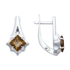 Серьги из серебра с раухтопазами 92021679 SOKOLOV