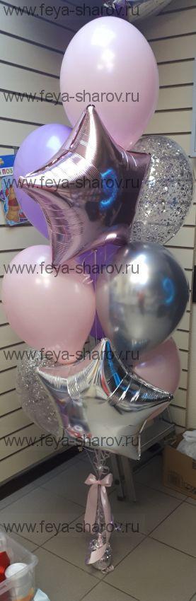 Фонтан шаров Розовое серебро