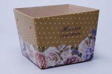 """Кашпо для букета 11*15*12,5  Желаю счастья """"Цветы и горошек"""""""
