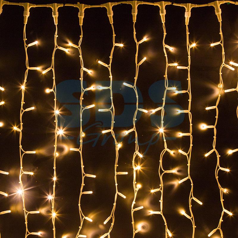 Светодиодная Гирлянда Шторка 280 LED, 2.5х2.5 м, Цвет Белый Теплый