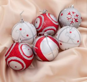 """Набор шаров пластик d-8 см, 6 шт """"Новогодние рисунки"""" красно-белый"""