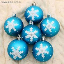 """Набор шаров пластик d-6 см, 6 шт """"Ажурная снежинка"""" голубой"""