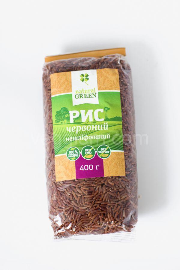 Рис красный цельнозерновой нешлифованый Natural Green,400 грамм
