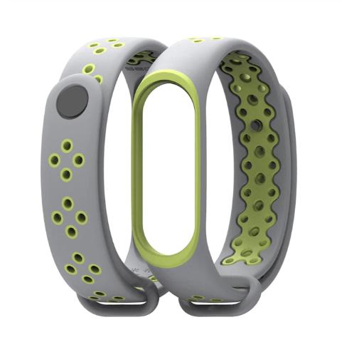 Силиконовый ремешок Mijobs для Xiaomi Mi Band 3  ( Серо-зеленый )
