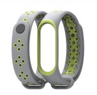 Силиконовый ремешок Mijobs для Xiaomi Mi Band 3/4  ( Серо-зеленый )