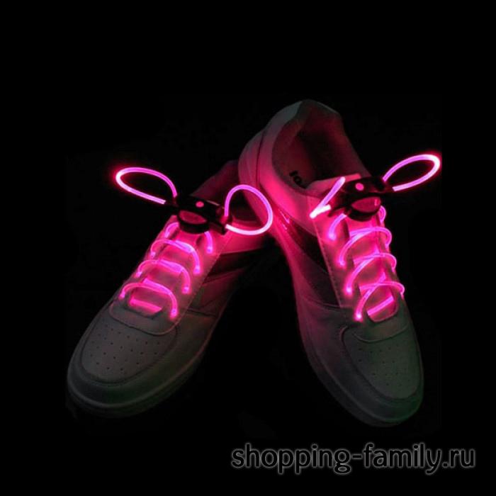 Светящиеся шнурки, цвет Розовый