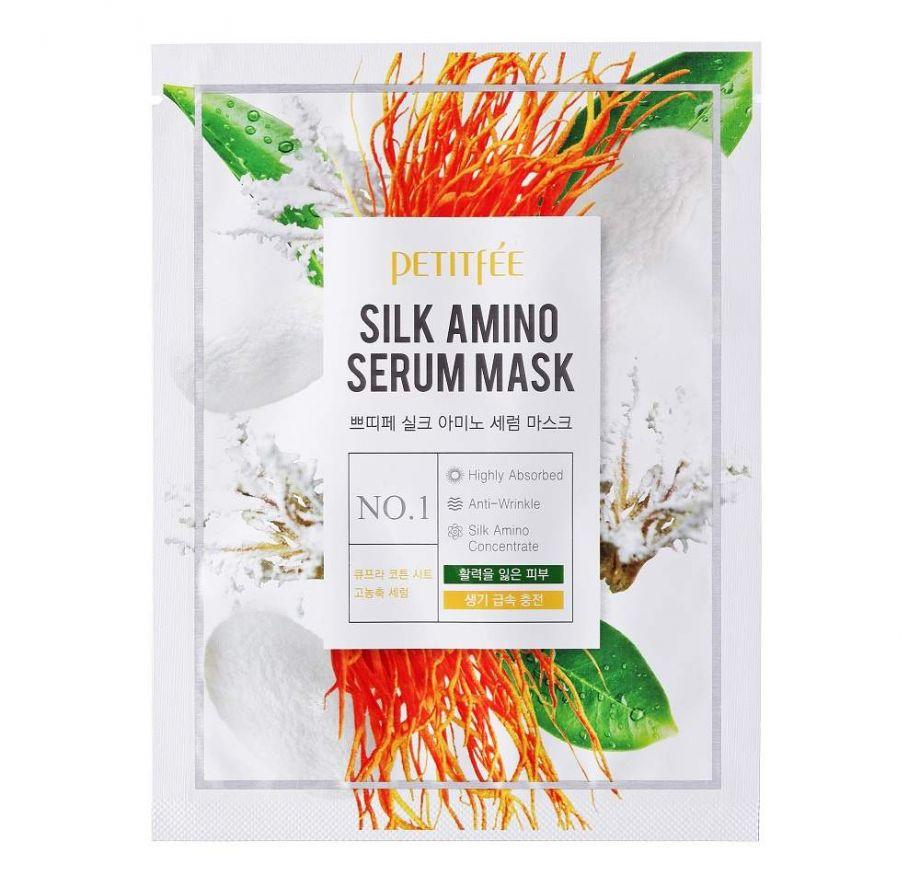 Увлажняющая тканевая маска для лица с протеинами шёлка Silk Amino Serum Mask PETITFEE