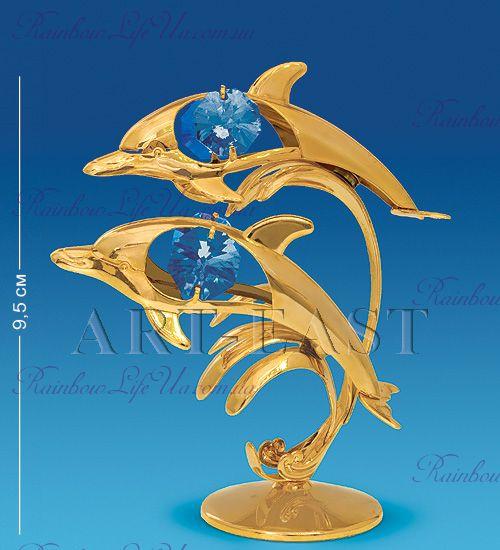 """Статуэтка дельфины с камнями """"Swarovski"""""""