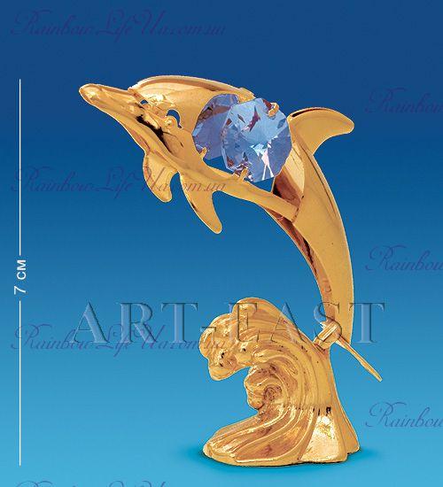 """Статуэтка дельфин на волне с камнями """"Swarovski"""""""