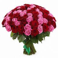 Букет 101 красная и розовая розы