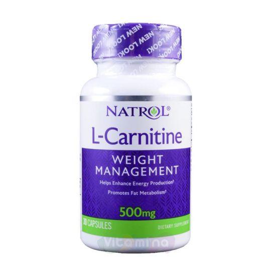 Natrol L-Карнитин (L-Carnitine) 500 мг, 30 капс.
