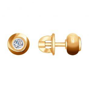 Серьги-пусеты из золота с бриллиантами и керамикой 6025089 SOKOLOV
