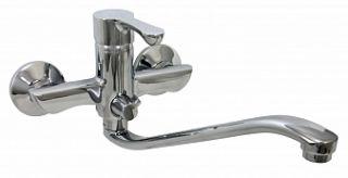 Смеситель для ванны и умывальника TETA, d-35, керамбукса, S-обр. излив 295 мм,