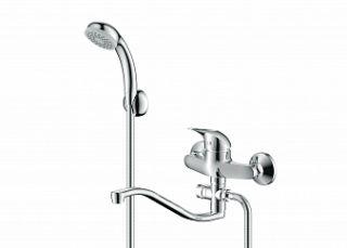 Смеситель для ванны и умывальника VECTOR, d-40, картриджный, S-обр. излив 295 мм,