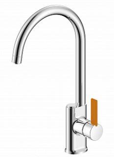 Смеситель для кухни под питьевую воду BUTTON, хром/оранж, d-35 монтаж - гайка