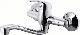 Смеситель для кухни настенный, STROY, S-обр. излив, 215 мм, d-35