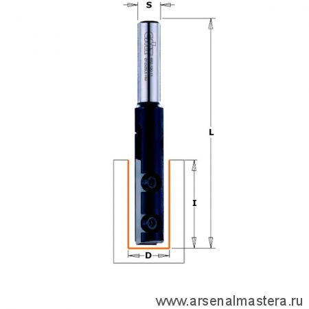 CMT 652.627.11 Фреза прямая пазовая со сменными ножами по ламинату HM Z1 S 12,7 D 12,7x28,3 RH