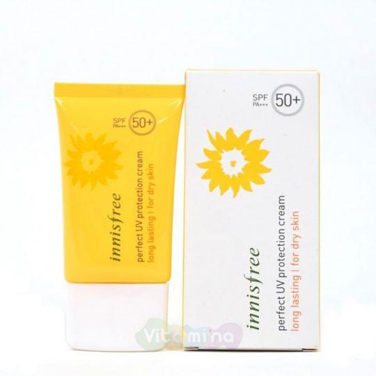 Innisfree Стойкий солнцезащитный крем для сухой кожи Perfect UV Protection Cream Long Lasting For Dry Skin SPF50+/PA+++, 50 мл