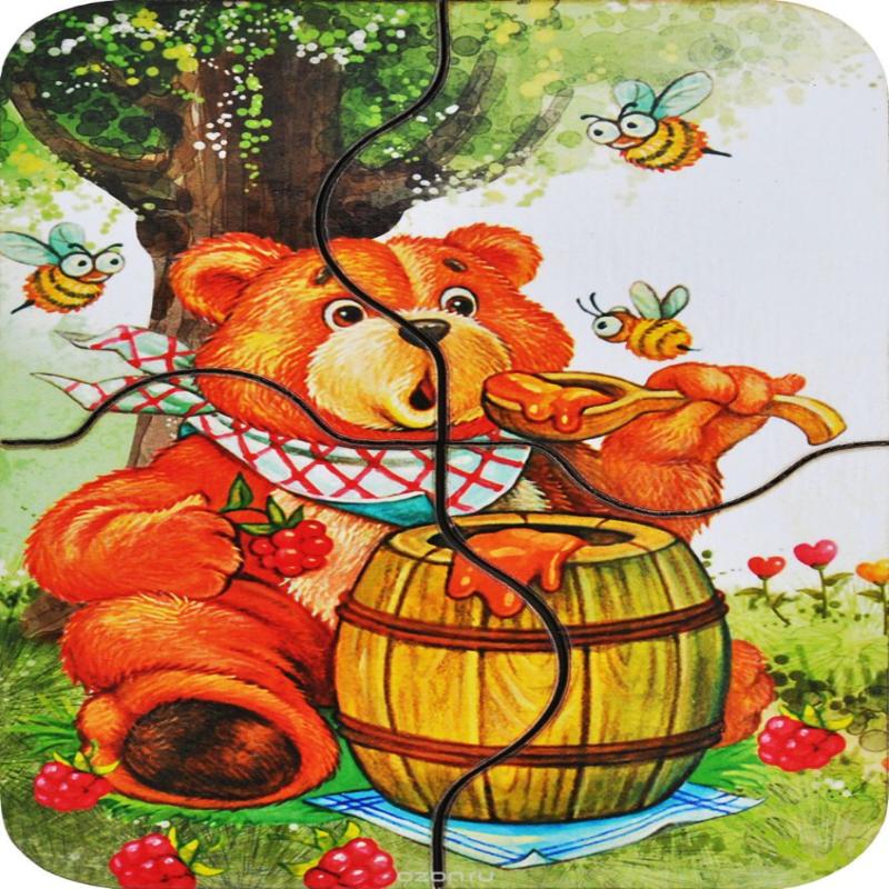 """Развивающая игрушка: мини пазл """"Медвежонок и мед"""""""