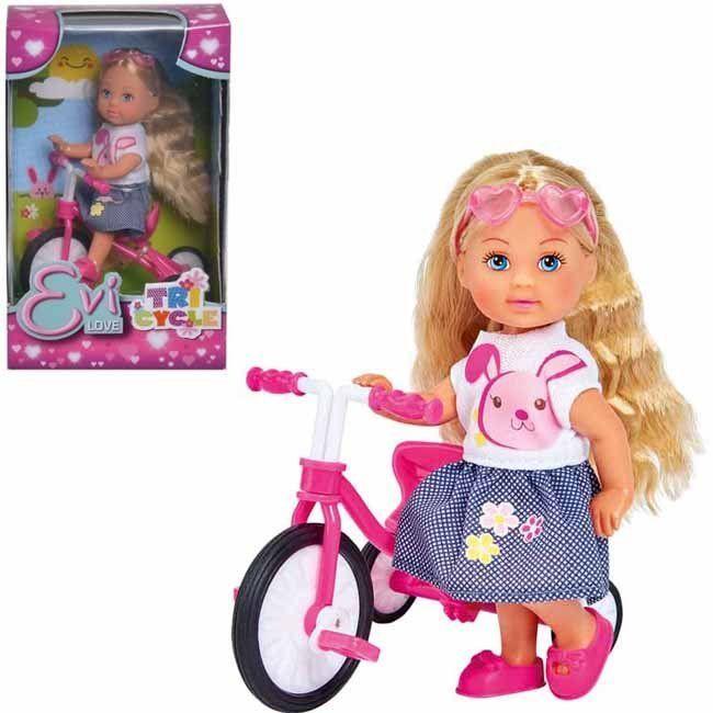 ЕВИ Кукла на трехколесном велосипеде 12 см