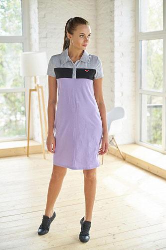 Платье-поло арт.0742-26 сиреневое, кулирка